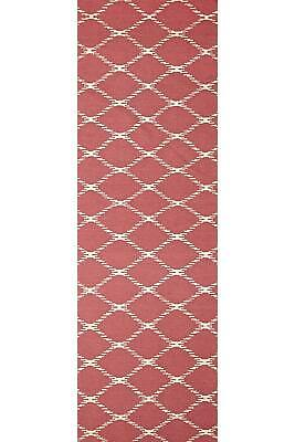 80x300 Runner Flatweave Wool Floor Rug GYPSY Modern Pink Diamond Trellis NM19P