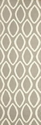 80x300 Runner Flatweave Wool Floor Rug GYPSY Modern Grey Oval Trellis NM20GR