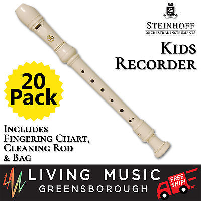 20 PACK Steinhoff Recorder for Kids with Cleaning Rod and Case (White) BULK