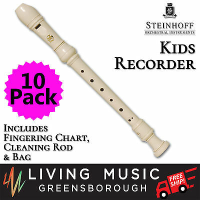 10 PACK Steinhoff Recorder for Kids with Cleaning Rod and Case (White) BULK