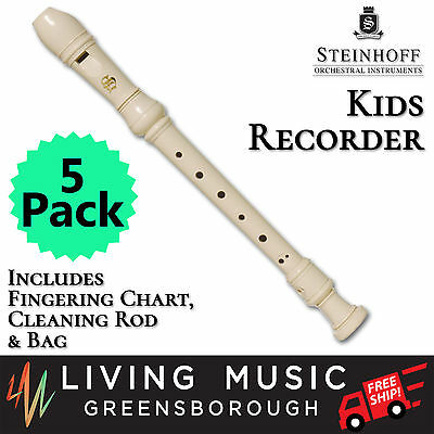 5 PACK Steinhoff Recorder for Kids with Cleaning Rod and Case (White) BULK