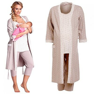 Happy Mama. Women's Maternity Dots Nightie/Pyjamas /Robe SOLD SEPARATELY. 770p