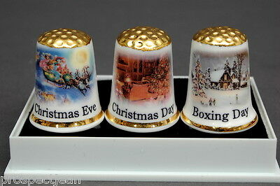Christmas Eve,Christmas Day & Boxing Day Boxed Set of Gold Topped Thimbles B/182