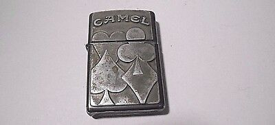 Retro Zippo 1996 I-Xii Camel Cigarette Lighter - Pewter Plaque Poker Card Suits