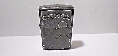 Retro Zippo 1996 H-Xii Camel Cigarette Lighter - Pewter Plaque Poker Card Suits