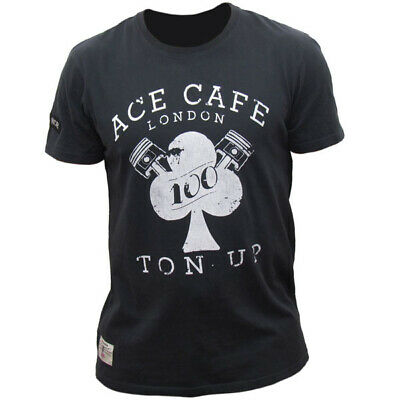 Red Torpedo Ace Cafe Ton Up Motorcycle Casual Wear T-Shirt - Black