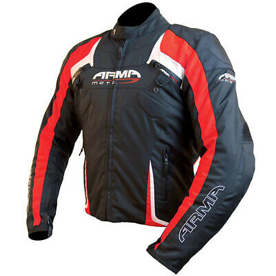 ARMR Moto Eyoshi Waterproof Motorcycle Motorbike Textile Jacket - Black / Red