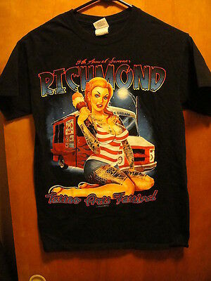 RICHMOND TATTOO ARTS FESTIVAL ~ Small ~ HOT CHICK w Ice Cream ~ 2 Sided~ T Shirt