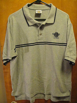 Hard Rock Cafe Las Vegas VINTAGE 3 Button Polo Shirt Gray Large US MADE