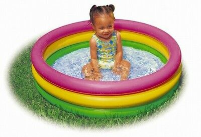"Baby Pool Sunset Glow 3 Rings Soft Inflatable Floor Small Children 34""x10"" NEW"