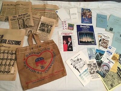 1976 Republican Convention Delegate Lot Books Tote Bag Newspapers Reagan Ford