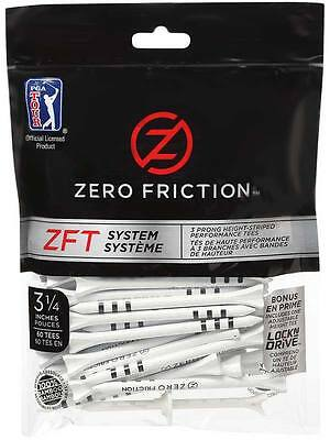 Zero Friction ZFT System Tees 60 Pack 3.25 Inch White/Black