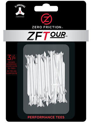 Zero Friction ZF Tour Tees 30 Pack 3.25 Inch White