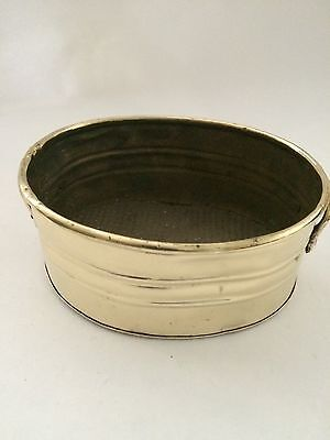 Vintage Small Oval Shaped Brass Planter Pot Flower Holder With 2 Handle