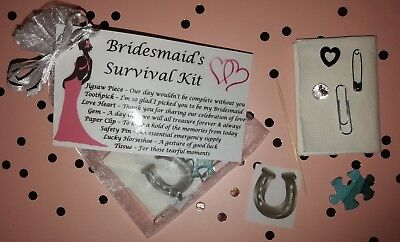 Bridesmaid Survival Kit Thank You Keepsake Gift Wedding Favour Novelty Bag