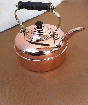 Antique Copper & Brass Tea Kettle With Turn Wood Handle & Copper Rivtets