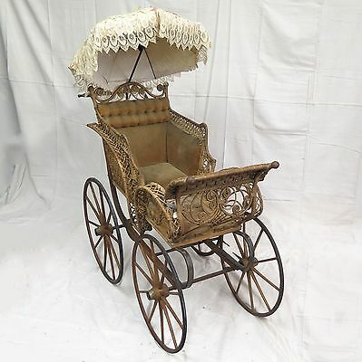 Victorian 1890s Wicker Rataan Baby Carriage Buggy Stroller with Parasol