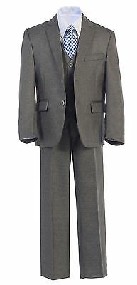 Boys Toddler Kid Teen 5-PC Wedding Formal Party Gray Suit Tuxedo w/ Vest sz 2-20