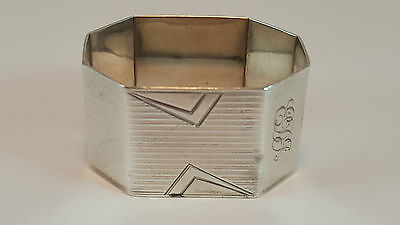 Vintage Art Deco Single Hm Sterling Silver Heavy Napkin Ring 1936 Adie Brothers