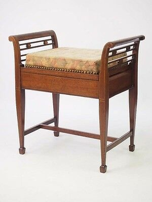 Antique Edwardian Piano Stool - Mahogany Music Seat Chair Bench Dressing Stool