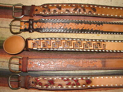 Vintage Buckstitch & Tooled Leather Western Name Belt Assorted Size Lot Of 5 New