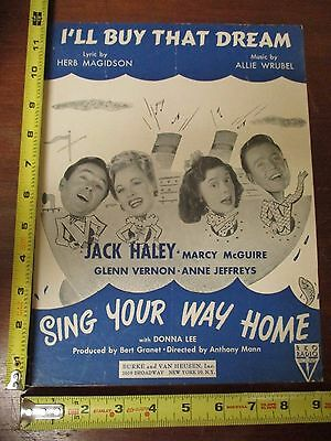Vintage Sheet Music I'll Buy That Dream 1945 Jack Haley Marcy McGuire boat