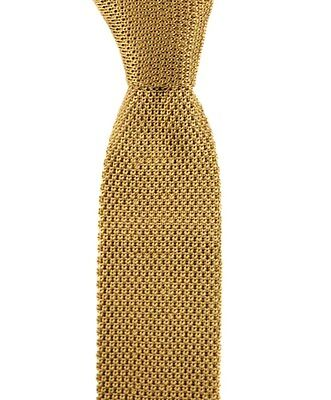 "Men's SANTOSTEFANO Gold Skinny 100% Silk Square End Knit 2"" Neck Tie NWT $195"