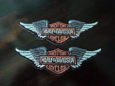 New 2x Harley Davidson Wings Embroidered Cloth Patch Applique Badge Iron Sew On
