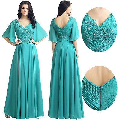 Plus Size Half Sleeve Long Chiffon Mother Of The Bride Groom Formal Prom Dresses