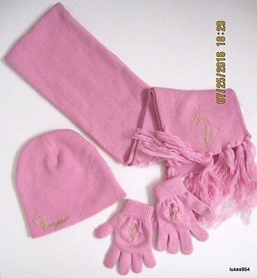 Baby Phat Winter Sweater Scarf Gloves and Cap Set Pink Gold Cat Logo