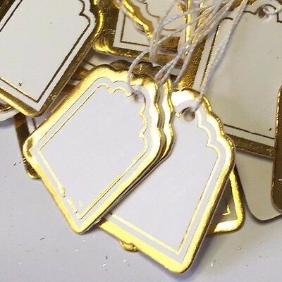 50 paper string swing price tags labels 2cm x 2.5cm white/gold border, jewelery