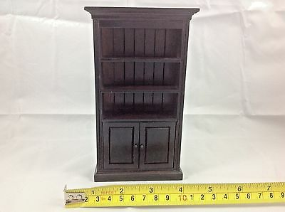 Dollhouse Miniature Furniture Wood Cupboard Shelf Cabinet Dark Brown 1:12