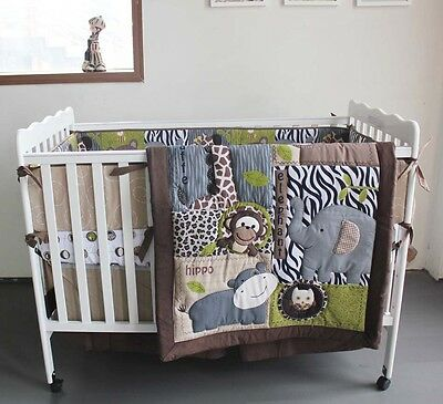 NEW Baby Cot Bedding Sets 7 PCs - Quilt Bumper Fitted Sheet Forest world 96-7