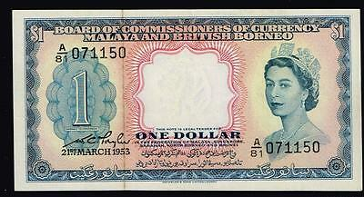 1953 Malaya British Borneo QE $1 A/81  071150 21st MARCH 1953 aUNC/UNC