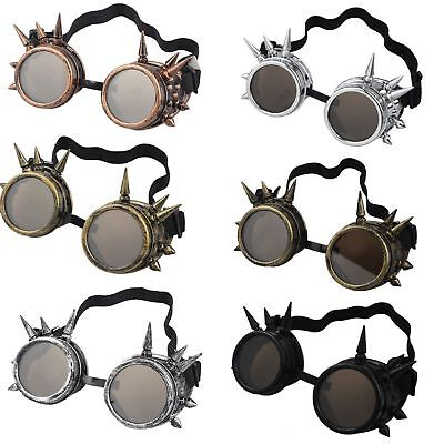 NEW Rivet Vintage Gothic Steampunk Goggles Glasses Welding Punk Cosplay Brass