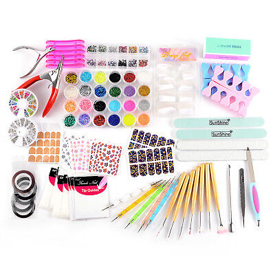 Kit Manucure stickers Paillete Strass Glitter ongle capsule nail art tips pince