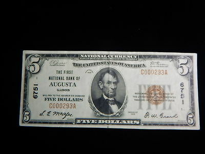 AUGUSTA ILLINOIS $5.00 National Bank Note Charter 6751 Scarce +