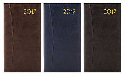 2017 Slim Tall Size Diary Week To View Embossed Stitched Leather Effect Hardback