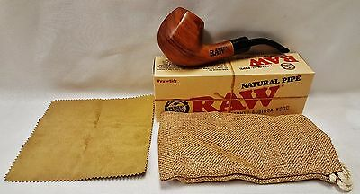 New RAW Rolling Papers Brand Uncoated Wood Tobacco Smoking Pipe W/ Pouch