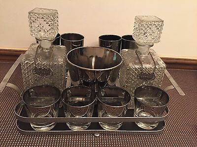 Queen's Lusterware Silver Fade Glasses, Ice Bucket, Tray ~BarwareDorothy Thorpe