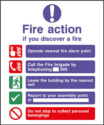 Fire Action Safety Sign, from 99p!!!!