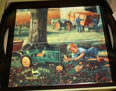 Set Of 4  John Deere Cherry Porcelin Tile Serving Trays