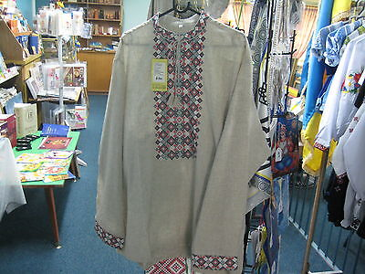 Ukrainian Vyshyvanka shirt Mens size 56 Linen - Cultural collectable -NEW!