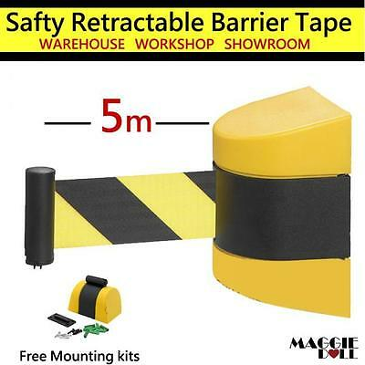5m Retractable Barrier Tape Safety warehouse workshop crowd control wall mount