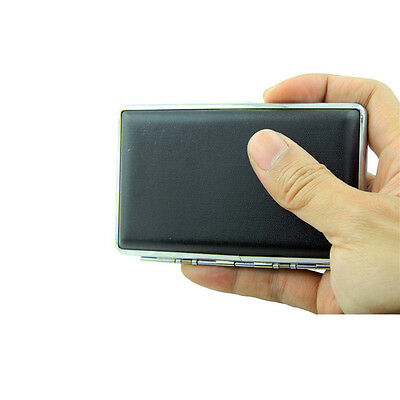 Small Black Pocket Leather Metal Tobacco 14Cigarette Smoke Case Holder Storage A