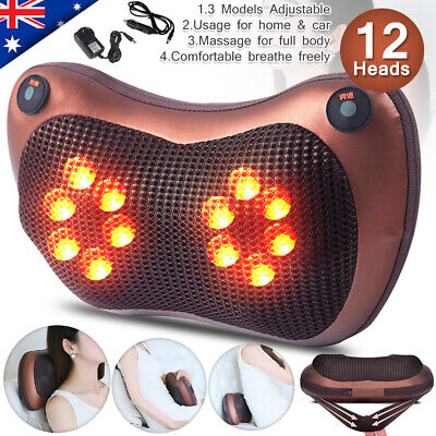 Electric Body Massage Pillow Massager Cushion Neck Back Shoulder Legs Home + Car