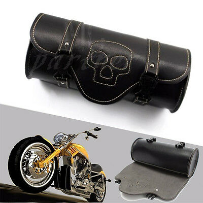 Motorcycle Skull Saddlebag PU Leather Round Barrel Saddle Tool Bag For Harley