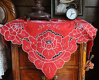 Vintage Style Ribbon Rose Embroidery Hemstitch Cutwork Red Cotton Table Cloth