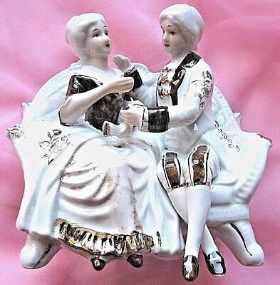Figurine Victorian Couple H/painted  Glazed Ceramic  Vgc