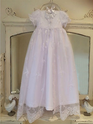 New White Baptism Christening Gown Dress Vintage Style 3 6 9 12 Months Free Box